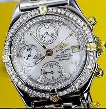 Breitling B13050 Cronógrafo Automático Reloj Con Bisel Diamantes & ESFERA BLANCA
