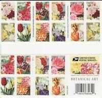 Botanical Art Booklet Pane of 20 Forever Postage Stamps Scott 5051c