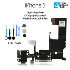 NEW iPhone 5 Charging/Lightning Dock/Port + Headphone Jack with Tools - BLACK