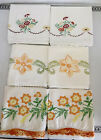 VTG+Lot+3+Sets+Hand+Embroidered+Pillowcases+Flower+Daisies+Crochet+Edges