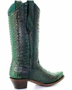 Corral Women's Western Leather Turquoise Python Woven Snip Toe Boots A3661
