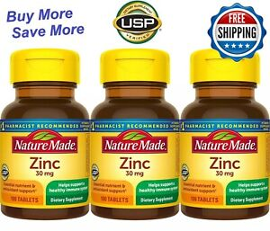 Nature Made Zinc 30mg, 300 Tablets (3pc x100 tablets) Immune Support
