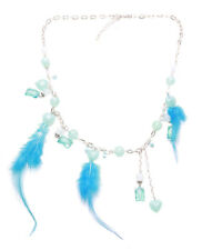 Bahama Mama- Blue Crystal & Feather Feature/ Chrome Chain Necklace(Zx203)