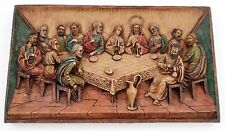 1960s Detailed Heavy Cast Resin The Last Supper Wall Art Plaque Made in Italy