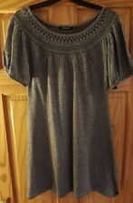 Primark Atmosphere silver metallic glittery lurex knitted jumper dress party 12