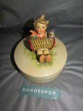 M.I. Hummel Let's Sing Boy With Accordion And Bird Container III/110 W. Germany