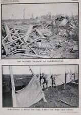 1917 WWI WW1 CANADIAN ARMY PRINT WESTERN FRONT ROAD SCREEN COURCELETTE RUINS