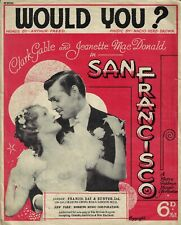 "Jeanette MacDonald ""SAN FRANCISCO"" Clark Gable 1936 London Edition Sheet Music"
