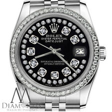 Rolex 36mm Datejust Glossy Black String Diamond Accent Dial Womens Watch