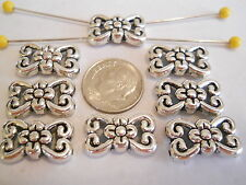 15 SILVER PLATED TIBETAN STYLE BOWKNOT OVAL 2 HOLE SLIDER SPACER BEAD BAR