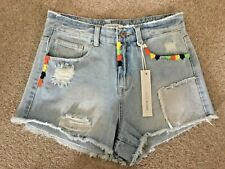 BNWT Authentic Urban Bliss Light Blue Denim Shorts With Rips & Frayed Edges - 10