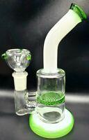 "7"" GREEN HONEYCOMB PERCOLATOR Tobacco Hookah Water Pipe Bong THICK Glass +SCREEN"