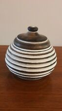 New Small wooden 'honey pot' shape box with lid.  Brown and white