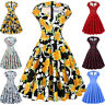 Housewife 50s 60s Retro Vintage Floral Dress Swing Pinup Party Cocktail Dresses