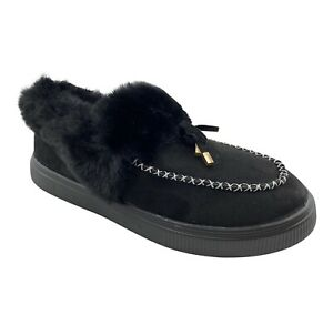 Women's Lightweight Black Faux Fur Slip On Moccasin Slippers Shoes Size 8.5