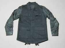 ZANEROBE MENS TRAP WASHED BLACK BUTTON UP JACKET COAT W/ LEATHER SLEEVES LARGE
