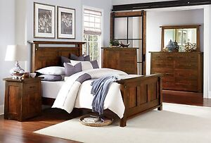 Luxury Amish Bedroom Set 5-Pc. Rustic Arts & Crafts Solid Wood Queen King Bed