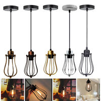 Balloon Shape Wire Cage Pendant Light Lamp Shades Retro Lighting LED Light Bulbs