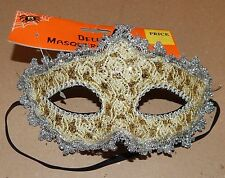 Halloween Costume Half Mask Adult Stiff Molded Gold With Silver Trim 128R
