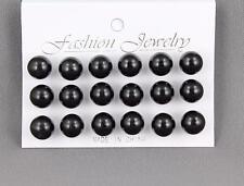 9 pair Black faux pearl earrings big bead ball stud post earrings set pack