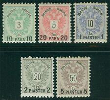 Levante 1888 n. 15-19 * GOMMA ORIGINALE SCANALATRICE