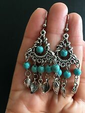 Earrings  Silver Turquoise Hippie Ethnic Boho Festival Tribal Gypsy A1012