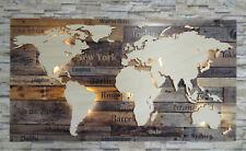 """Weltkarte aus Holz """"Städte"""" 3D Effekt LED Beleuchtung Deko Wandbild"""