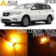 Alla Lighting Front Turn Signal Blinker Light 3457 Amber LED Bulb for Nissan 2PC