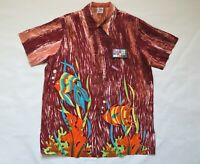 1940's Vintage Aloha Shirt XL Catalina FISH print NYLON Hawaiian EXC Jim Tillett