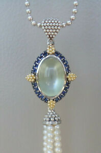 """NEW $6000 LAGOS Pendant 36"""" Moonstone Eclipse Blue Sapphire Pearl Silver Gold"""