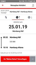 DB Deutsche Bahn Fahrkarte Ticket ICE 2. Klasse Nürnberg - Hamburgam 25.1.2019