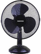 "Daewoo Black 12"" 3 Speed Electric Oscillating Desktop Desk Table Air Cooling Fan"