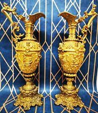 Antique Pair rococo ormolu Ewers Vases Candlestick Candle Holders Putti Cherubs