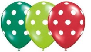The Very Hungry Caterpillar Party Balloons Polka Dot 28cm Red Green Lime 3pk
