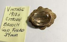 Citrine Brooch 34mm Vintage 1910s Gold Filled