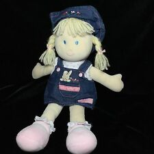 Carters Just One Year Doll Blonde Denim Dress Bunny Plush Soft Toy Stuffed 13""