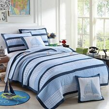New Quilted Coverlet / Bedspread Set Single / Double Bed 100% Cotton Pillow Case