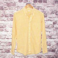 New England Shirt Co. Men's Button Down Shirt Yellow Gingham Check Sz Small