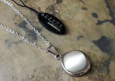 Damen Edelstahl Halskette Kette mit Anhänger Quadrat Weißer Stein 1122