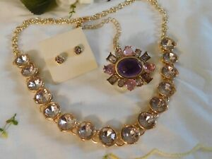 Purple & Pink Crystal Pin, Avon Earrings and Chain Necklace Set of 3