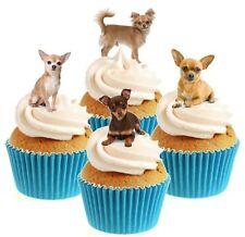 Novelty Chihuahua (Chiwawa) Dog Mix 12 Edible StandUp wafer paper cake toppers