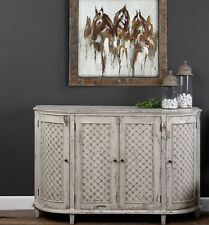 "59"" w Ella Sideboard white gray wash finish distressed 4 door solid pine wood"
