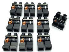 Lego 10 New Minifigure Black Hips Legs White Belt Skull and Bottle Spider Pants