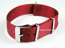SUPERB RED BALLISTIC NYLON NATO® STRAP BAND FOR ROLEX LUXURY SWISS WATCHES 20mm