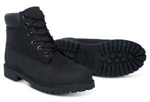 New TIMBERLAND Black 6 Inch Premium Boots Waterproof Nubuck Boys Girls Size 2-6