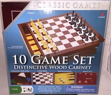 New CARDINAL 10 Individual GAME SET Combined In A Lovely Wood Cabinet