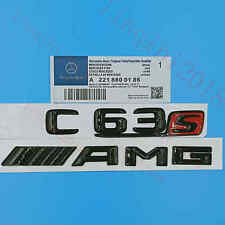 """Gloss Black """"C63s + AMG """" Letters Trunk Embl Badge Sticker for Mercedes Benz C63"""