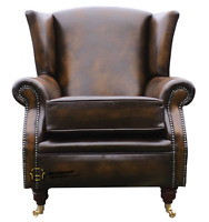 Southwold Fireside High Back Wing Armchair Antique Tan Leather