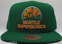 Seattle SuperSonics Mitchell & Ness Classic Solid Wool HWC Snapback Hat Cap NBA