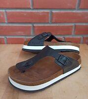 Papillio Birkenstock 39 EU 8 8.5 US Gizeh Platform Sandals Wedge Black White